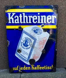 Original rare advertising enamel sign of Kathreiner porcelain 1920/1930