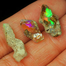 Natural Ethiopian Welo Opal Play Of Color Rough Specimen - 9 ct