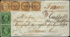 General Colonies 1873 – Yvert No. 3, 8 and 11 on a letter from La Réunion to Bordeaux, signed by Calves and Baudot.
