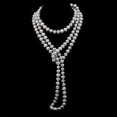 Gray cultured pearls necklace - Length: 150 cm