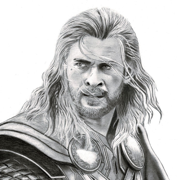 Diego septiembre original charcoal and graphite drawing thor ragnarok