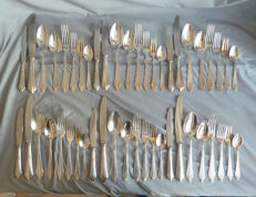WMF Fan Pattern - 48 piece set dinner and breakfast cutlery - knife and fork edition