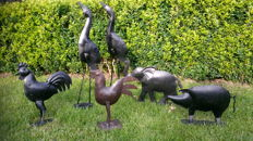 Collection of 6 beautiful metal animals