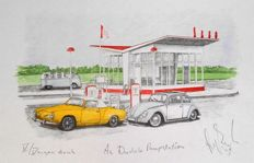 Beetle and Karmann-Ghia at Dudok gas station, A2 Vinkeveen. Limited silkscreen by Karel Lijbrink from 1995