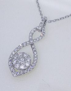 14 kt White gold pendant set with 56 cut diamonds, 0.50 ct in total, necklace of 43 cm