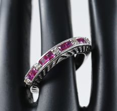 Diamond and Ruby ring – 0.84 ct  - 14kt White gold - Ring size – 17 NL and 54 French