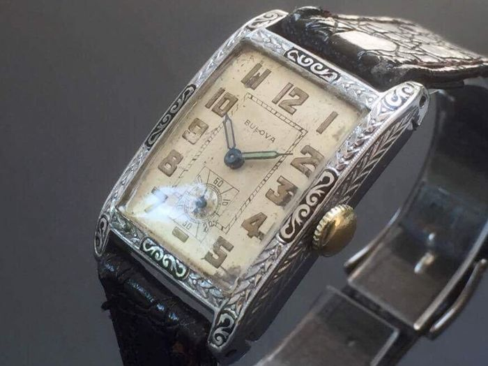 "BULOVA 'Pres. Maddison"" 14K GF Cal 9AN Art Déco watch From 1928"