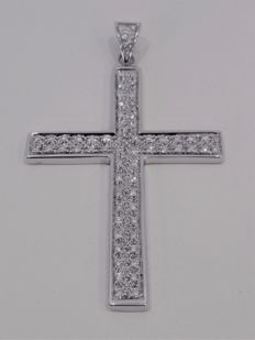 750 white gold crucifix with diamonds for approx. 0.65 ct – Length: 6 cm