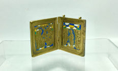 Rare Antique Russian Bronze & Enamel Diptych Travel Icon - 19th century