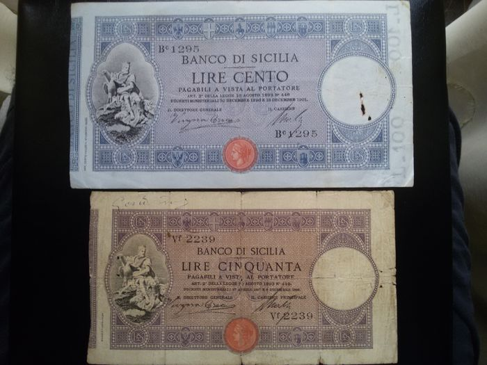 Italy - Kingdom of Italy - Banco di Sicilia - 50 lire + 100 lire banknotes - Pick S896 and S897.