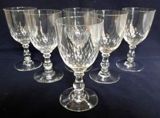 6 Baccarat wine or port wine glasses in cut crystal, model Richelieu (baluster leg)