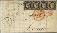 France 1850 – 20 centimes black, strip of 4 on letter to London, signed by Roumet with certificate – Yvert No. 3