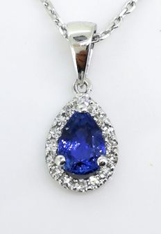 Necklace with pear-shaped sapphire and 16 diamonds *** no reserve price ***