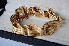 18 kt (750) yellow gold solid gold bracelet partly polished or relief - very beautiful!!! From the 1950s- Weight of the item: 41,5 g
