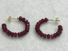 Long Gold and Ruby Earrings