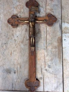 Large oak/bronze cross, early 20th century