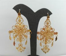 18 kt, 800/1000 gold earrings, hand-crafted Portuguese filigree – Weight: 18.3 g
