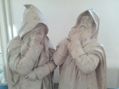 Gustave Crauk - two figures by the Pères Blancs in plaster of the monument of cardinal Lavigerie - France - ca. 1900
