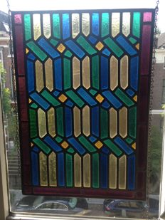 Gorgeous old stained glass mosaic windows hanger (sun catcher) of the Amsterdam school - late 19th century.