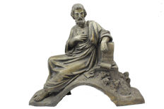 Antique zamak sculpture of Greek philosopher Cimon - presumably France - ca. 1900