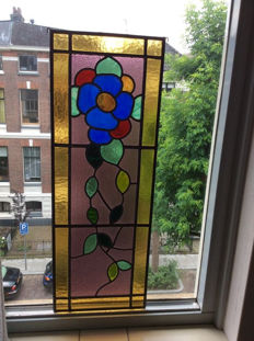 Beautiful old Jugendstil stained glass window / suncatcher with many colours and mosaic - from approximately 1890.