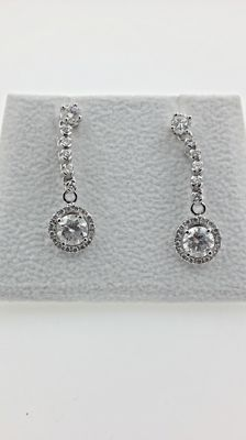 2.08 ct  round diamond earrings 14 kt white gold