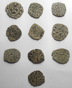 Italian Mints – Lot of 10 Swabian and Aragonese coins from the 12th Century (including rare typology)