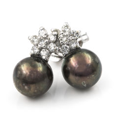 White gold (18 kt) – Earrings with Star motif – Diamonds 0.70 ct – Tahitian pearl – Earring height: 14.00 mm