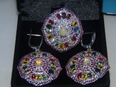 Extra large set of 925 silver cocktail ring and earrings, with natural stones (Australian milk opal and tourmaline and ruby in many colours)