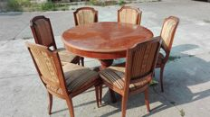 Round table and six chairs, Louis XVI style, Italy 60s/70s
