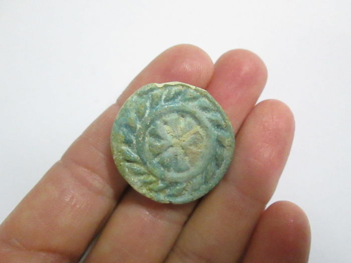 Egyptian faience stamp seal - 30 mm