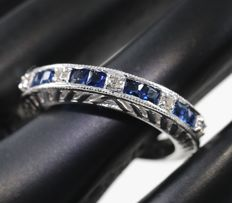 Diamond and Blue Sapphire Ring – 0.88 ct  - 14kt White gold - Ring size – 17 NL and 54 French