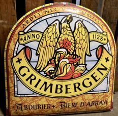 Vintage enamel advertising sign Grimbergen from the 1980s