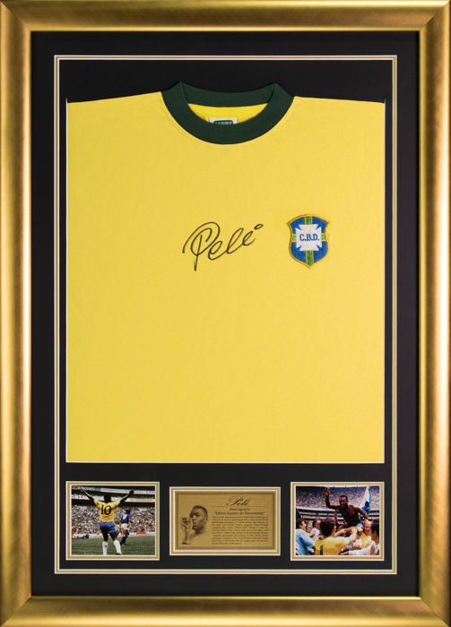Hand Signed Pele Brazil Framed Shirt Jersey - Football Legend - COA