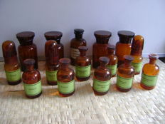 Lot of fifteen brown glass apothecary bottles