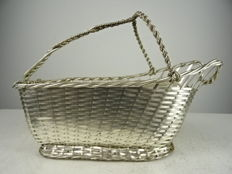 Silver plated wine basket, Christofle, Paris, second half 20th century