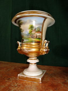 Porcelaine de Paris - Hand Painted Vase with moulded faces handles