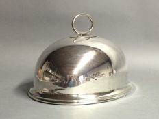 Silver plated bell jar with handle, W.R. Humphreys, England, ca. 1905