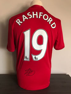 Marcus Rashford Manchester United home shirt 16-17 with photo evidence and certificate of authenticity