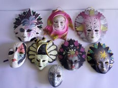 Nice lot of 8 hand decorated ceramic masks