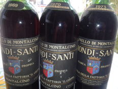 1x 1969 & 1x 1970 & 1x 1973 Brunello di Montalcino, Biondi Santi - total of 3 bottles