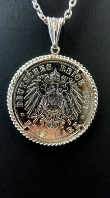 Silver necklace with pendant, coin Deutsches Reich five mark - 71 cm
