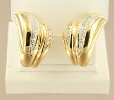 18 kt yellow gold clip-on earrings set with 26 brilliant cut diamonds - approx. 0.26 carat total - *** LOW RESERVE PRICE ***