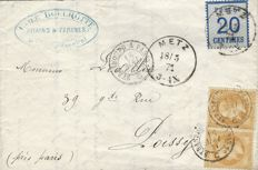 France 1870 – war of 1870, double franking, stamp from Alsace Lorraine, 20 c blue and Empire with laurel 10 c, pair on letter