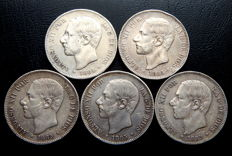 Spain – 5 pesetas 1884(2) and 1885 (3) – Alfonso XII (5 coins) – Silver