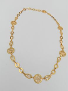 18kt 800/1000 gold necklace. Hand-crafted Portuguese filigree – Weight: 16.7g