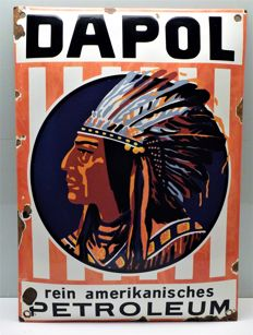 "Enamel sign oil sign - ""Dapol rein amerikanisches Petroleum"" Hamburg around 1910"