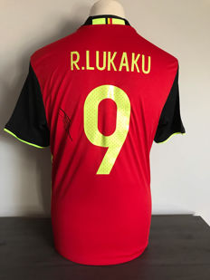 Romelu Lukaku Belgium home shirt 16-17 with photo evidence and certificate of authenticity