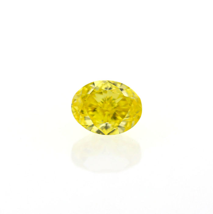 0.72 Ct. Natural Fancy Vivid Yellow VS1 Oval Modified Brilliant shape Diamond, GIA certified