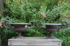 2 planters with ornate ears - cast iron - 20th century